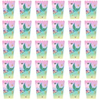 PRETYZOOM 30 Piezas Caja de Palomitas de Maíz Patrón de Sirena Elegante Contenedor Portátil de Aperitivos Cajas de Palomitas de Maíz Cajas de Fiesta para Alimentos Dulces Frutas Secas