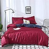 DOTBUY Bettbezug Set, 3 Stück Super Weiche und Angenehme Mikrofaser Einfache Bettwäsche Set Gemütlich Enthalten Bettbezug & Kissenbezug Betten Schlafzimmer (220x240cm, Rot)