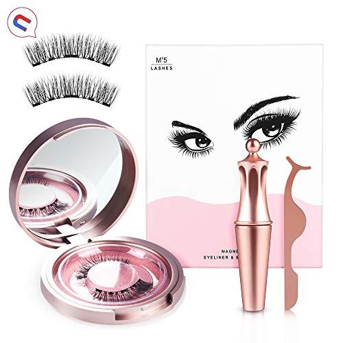 Magnetische Eyeliner mit Magnetische Wimpern Set, Wiederverwendbare 5 Magnetes Wimpern Mit Wasserdichtem Langlebigem Magnetic Eyeliner, Natürliches Aussehen, mit Aufbewahrungskiste + Pinzette