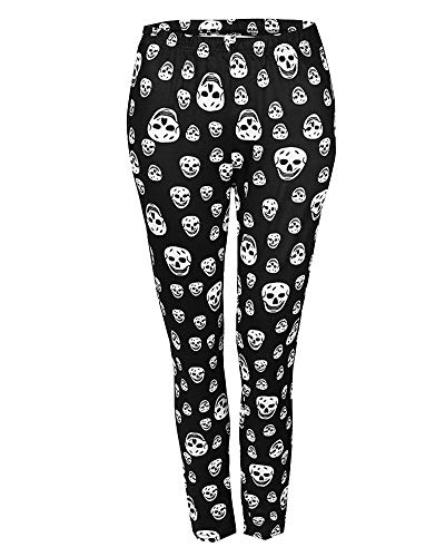 Suncaya Damen Muster Gedruckt Halloween Knochen Fitnesshose Schädel Leggings Halloween (Horror Brautpaar Kostüm)