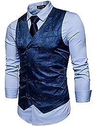 STTLZMC Homme Paisley Gilet Double Boutonnage sans Manches Vintage Mariage  Business Veste 94d6a449de0b