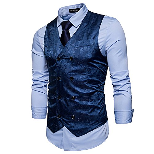 Sttlzmc paisley gilet uomo senza maniche scollo a v doppiopetto slim fit elegante matrimonio panciotto,blu,xxl
