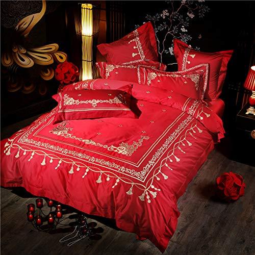MIJIA 4 und 6 stück rot grün böhmen Stickerei bettwäschesatz Baumwolle königin King Size tröster bettlaken Kissenbezug Set,Rot,Queen4pcs -