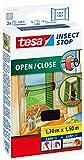 tesa Insect Stop Fliegengitter zum Öffnen und Schließen / Flexibles Insektennetz für Fenster mit selbstklebendem Klettband / 130 cm x 150 cm