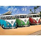 Volkswagen VW Fußmatte Motiv 3er Bulli 50 cm x 70 cm VW Bus Camper Schmutzfangmatte mit rutschfester PVC Unterlage Fußabtreter Sauberlaufmatte Campervan Fußabstreifer für Außen und Innen pflegeleicht