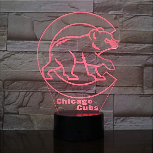 mpe Schlafzimmer Dekoration Usb Rgb Touch Sensor Kinder Kind Geschenk Neuheit Mlb Team Logo Led Nachtlicht Baseball ()