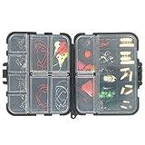 Fishing Accessories kit for Texas Rig, tra cui Bullet Sinker, ganci, cucchiaio, portiere, moschettoni, Split Ring, perline, set di attrezzatura da pesca con scatola a scomparti