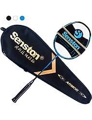 Senston B550 alto grado raqueta de bádminton profesional,100% de la raqueta de bádminton de grafito,incluyendo bádminton bolsa - Negro / Blanco / Azul