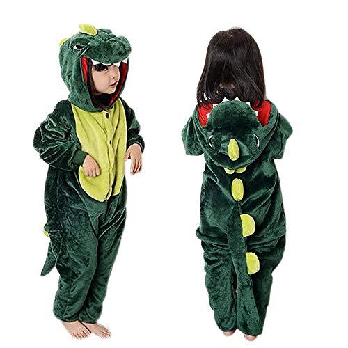 Kinder Dinosaurier Kostüm Onesies Jumpsuit Schlafanzug, MMTX Mädchen Flanell Tier Fasching Karneval Nachtwäsche Kapuze, Fancy Ganzkörperanzug für Playsuit Halloween Kostüm Kleidung, Weihnachten Pyjama