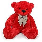 Mayki's Very Soft Cute Teddy Bear With Neck Bow For Girlfriend/Birthday Gift/Boy/Girl/Valentine/Anniversary (Red, 4 Feet)