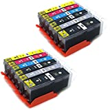 12 komp. Druckerpatronen XL mit Chip für Canon Pixma IP8750 MG6350 MG7150 2 x schwarz 2 x photoschwarz 2 x blau 2 x rot 2 x gelb 2 x grau