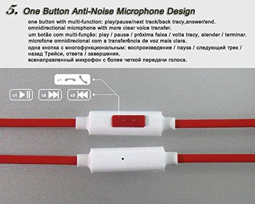 Tennmak auricolare universale con built-in Mic cuffie stereo e isolamento del rumore per iPhone iPad iPod Samsung Galaxy LG HTC e altri Smartphone / PC / Laptop (DR)(Bianco e rosso) Bianco e rosso