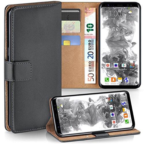 moex Samsung Galaxy S8 | Hülle Dunkel-Grau mit Karten-Fach 360° Book Klapp-Hülle Handytasche Kunst-Leder Handyhülle für Samsung Galaxy S8 Case Flip Cover Schutzhülle Tasche