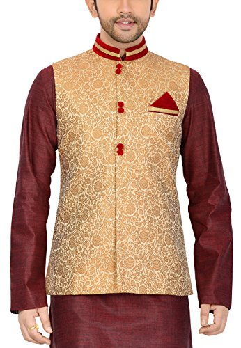 Manyavar Men's Banded Collar Blended Jacket (8903035280497_J952352-304 _44_Beige)