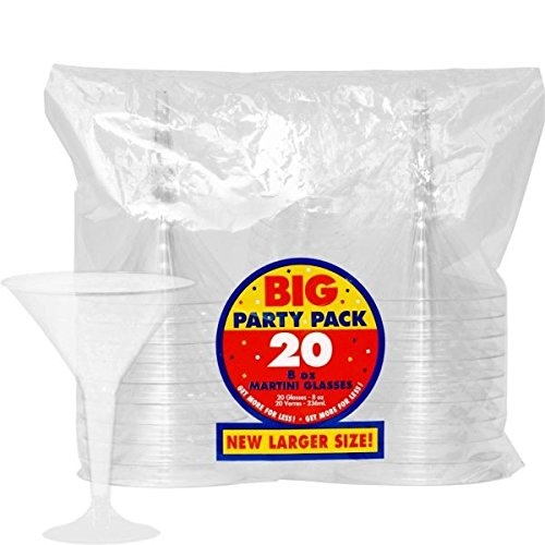 amscan Klar Kunststoff Einweg Martini Gläser 235ml, 20Stück (Favor Gläser Wedding)