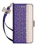 WWW iPhone 6S Plus Fall, iPhone 6Plus Case, [Luxuriöses Geschnitzt Blumen] Leather Wallet Schutzhülle mit [Schminkspiegel] und in [Ständer Funktion] für Apple iPhone 6/6S Plus, B-Purple