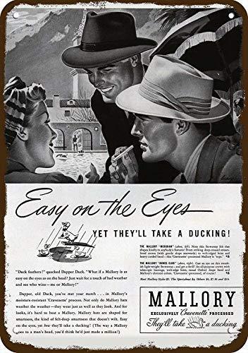 1941 Mallory Meridian & Dune'S Club Men's Hat Vintage Look Replica Metal Sign 8