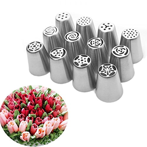 Uten 12pcs Russian Icing Piping Nozzle Tips Stainless Steel Cake Decorating Sugarcraft Pastry Tool Set