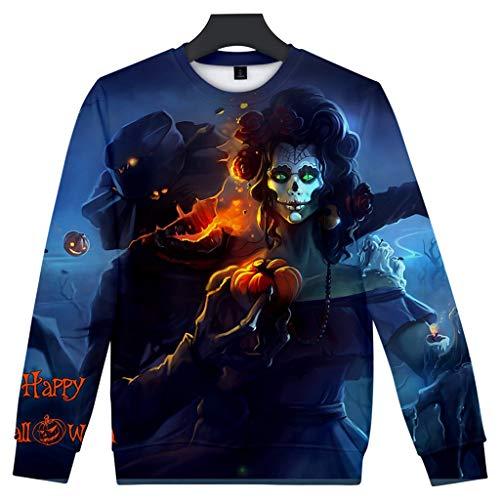 ZHANSANFM Halloween Kostüme Unisex 3D Drucken Pullover Ärger Kürbis Printed Shirt Gruselige Skelett Sweatshirt mit Horro Muster Regular Fit Pulli Hoodie Weihnachten Party (4XL, Blau Blut Hoody