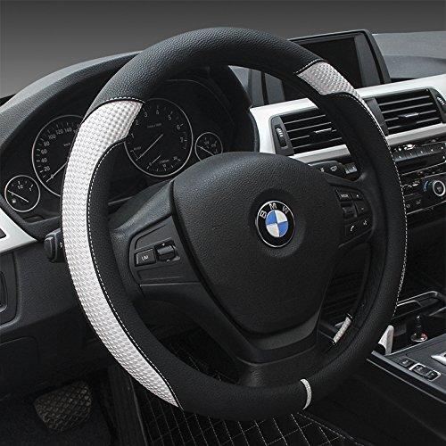 """Preisvergleich Produktbild YOPRIA Prämie Fahrzeug Lenkradabdeckung Auto Lenkradschutz Universal Durchmesser 38cm (15"""") Echtleder"""