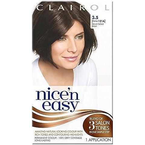 3x Clairol Nice N Easy permanente Capelli Colore Naturale castano scuro 121A