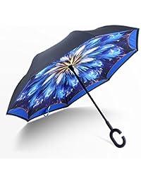 Manfâ Resistente al Viento Reverse Plegable Paraguas Doble Capa Paraguas Invertido con Forma de C Mango