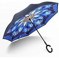 Manfa Resistente al Viento Reverse Plegable Paraguas Doble capa Paraguas Invertido con Forma de C Mango Self Standing Dentro y por Fuera Mango Libre Para las Mujeres y Hombres Sinfonía azul