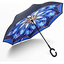 Manfa Resistente al Viento Reverse Plegable Paraguas Doble capa Paraguas Invertido con Forma de C Mango