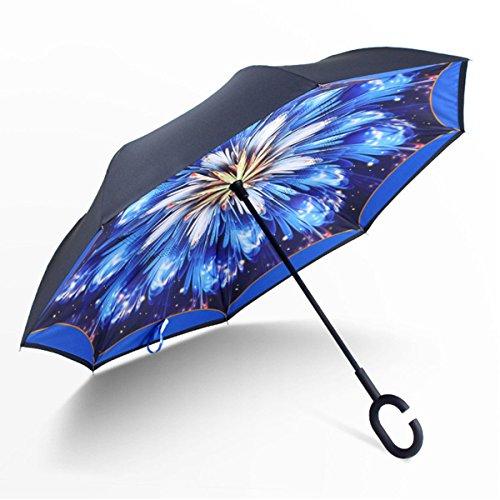 antivento Reverse pieghevole ombrello, a doppio strato invertito ombrello con manico a forma di C, self standing, inside out, senza manico per uomini e donne, manicotto per storage,Symphony blu