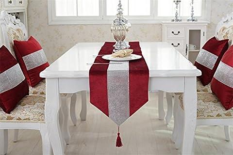 Neeiors Mode Luxe Paillette Strass chemin de table de salle à manger avec Tassel Home Décoration fête de mariage chemins de table 32x 180cm