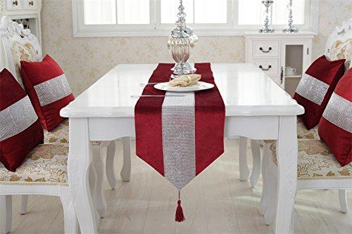 Preisvergleich Produktbild neeiors Fashion Luxus Pailletten-Strass Esstisch Tischläufer mit Quaste Home Deko Hochzeit Party Tisch Läufer 32x 180cm rot
