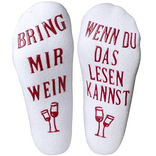 SANMIO Baumwollsocken für Männer und Frauen im Winter Frühling und Herbst 1er Pack Mit Der Aufschrift Bring Mir Wein Gastgeber Geburtstagsgeschenk oder Geschenk für einen Weinliebhaber