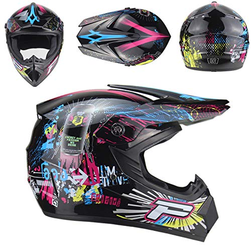 XiuFen Motorcycle Adult Motocross Off Road Helmet ATV Dirt Bike MTB DH Racing Helmet Bright black 6 (goggles + red gloves + mask) L