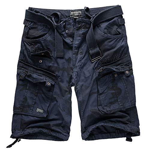 Geographical norway cargo pantaloncini pantaloncini corti bermuda con cintura breve hunter im bundle con ud bandana - blu marino mimetici, 4xl