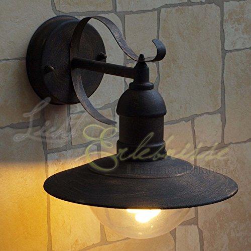 Rustikale Terrasse (Rustikale Außenlampe in antik Gold E27 bis 60 Watt 230V Wandleuchte aus Aluminium & Kunstglas Terrasse Garten Weg Lampen Leuchte außen Beleuchtung)