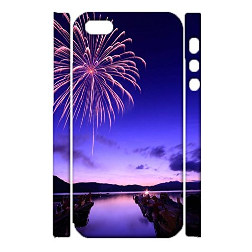 iPhone 5/5s/SE Back Case Cover,Vintage Perfect Fireworks Image Printed Shell 3D Hard Plastic Cover for iPhone 5/5s/SE Phone Case