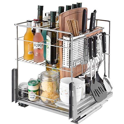 LXDLJ 2-Tier Basket Rutschen,Edelstahl-Schubladen Baskets Küchenunterschrank Herausziehen Gestell Würzen Lagerung Regal Organizer -