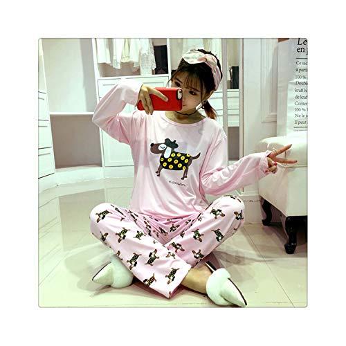 Womens Pajamas Sets Long Sleeve Suit Summer Thin Cartoon Print Cute Sleepwear Girl Pijamas Mujer Leisure Nightgown Nightwear huangdiangou pink S