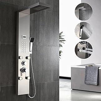 Auralum – Panel de Ducha Moderna Acero Inoxidable con Pantalla Digital De la Temperatura del Agua Columna de Hidromasaje para Baño