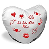 Herzkissen mit Namen Alex und Motiv - Ich liebe Dich - zum Valentinstag - Herzkissen personalisiert Kuschelkissen Schmusekissen
