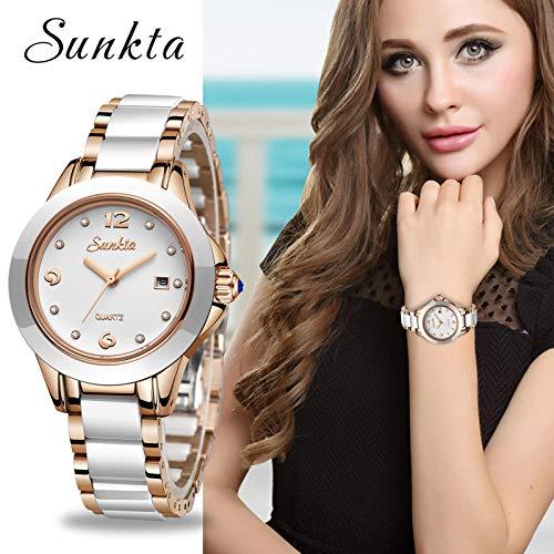 Sunkta New Rose Gold Watch Mujer Relojes De Cuarzo Damas Top Brand Luxury Mujer Reloj De Pulsera Chica...