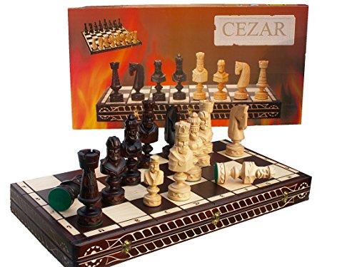Master of Chess Mighty Caesar 85cm / 33 Zoll Luxus Modelliert aus Holz Schach-Spiel, Handcrafted Klassische Spiel