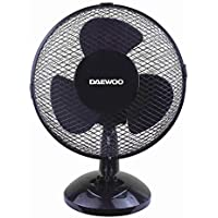 "Quality Branded 9"" Inch Small Oscillating 2 Speed Air Cooling Desk Work Top Fan in Black"