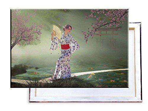 Frau im Kimono Japan - 60x40 cm - Bilder & Kunstdrucke fertig auf Leinwand aufgespannt und in erstklassiger Druckqualität (Frau Japan Kimono)