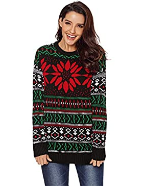 Manga Larga Festival de Navidad Fair Isle Ojos Pullover Suéter Sweater Jersey Top