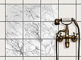 Dekor-Fliesen, Badfliesen   Fliesentattoo Küche Bad ergänzend zu Kühlschrankmagnet Wandtattoo   20x20 cm Design Motiv Marmor weiß - 9 Stück
