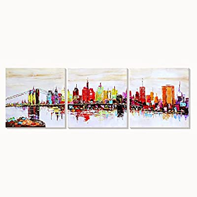 AONBAT Oil Paintings New York Cityscape Scenery- 3 Panels Wall Art on Canvas Landscape Painting - Home Decor Ready to Hang - Stretched on Canvas for Bedroom - low-cost UK light store.