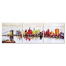 AONBAT New York Stampe su tela dipinti ad olio moderna della parete di arte su tela paesaggi dalla mano della decorazione della casa pronta per essere appesa a mano Set di 3 pezzi