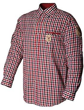 Trachtenhemd Rico rot/schwarz