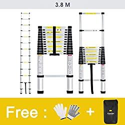 Finether 3.8M Aluminium Telescopic/Telescoping Loft Extension Ladder